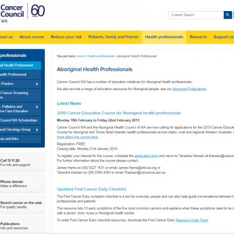 Aboriginal Health Professionals Webpage Cancer Council WA