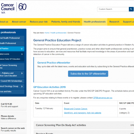 General Practice Education Project Cancer Council WA