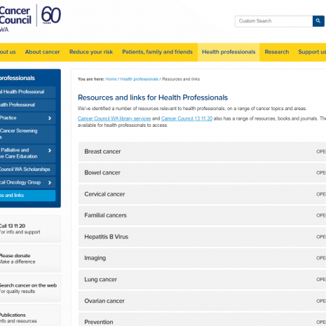 Resources and Links For Health Professionals Cancer Council WA