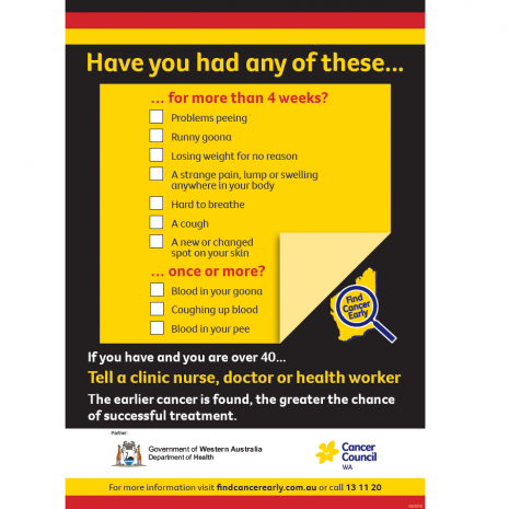 Find Cancer Early Symptom Checklist Aboriginal Design