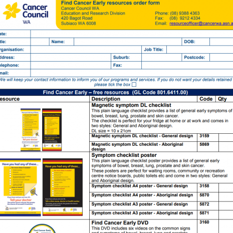 Find Cancer Early Resource Order Form