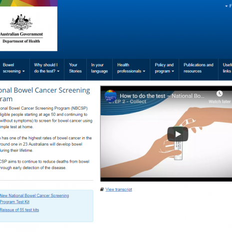 National Bowel Cancer Screening Program Website