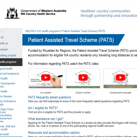 Patient Assisted Transport Scheme website